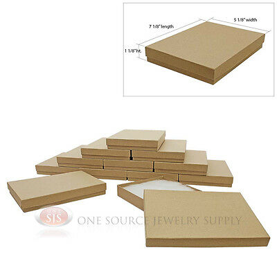 """7 1/8"""" x 5 1/8"""" x 1 1/8""""H Large 12 Brown Kraft Cotton Filled Jewelry Gift Boxes"""