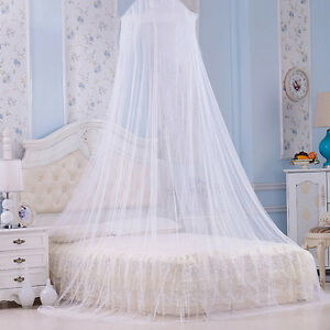Image is loading UK-Bed-Canopy-White-Mosquito-Net-Girls-Bedroom-