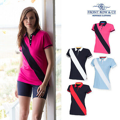 Front Row FR213 Womens Striped House Cotton Polo Shirt Top 8-18