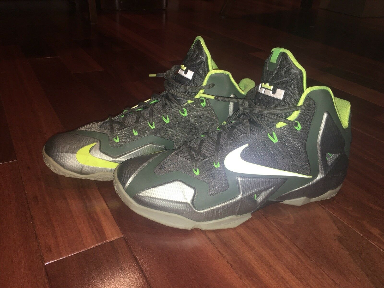 ff08477dc155d New Nike Lebron 11 11 11 XI Size 12 Dunkman Green Volt Basketball Shoe  616175- Nike Air Jordan 2 Retro Black ...