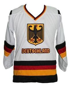 Any Name Number Size Team Germany Retro Custom Hockey Jersey White