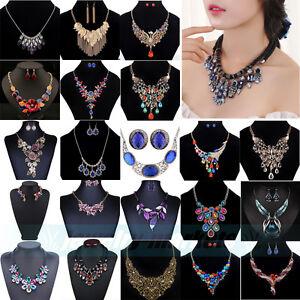 Fashion-Charm-Bib-Chain-Choker-Pendant-Necklace-Chunky-Crystal-Statement-Jewelry