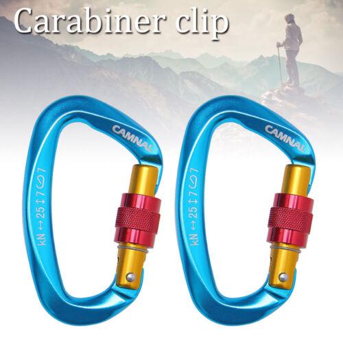 2Pc 25KN Carabiner Clip Hook Heavy Duty Aluminum D-Ring Screw Lock Rock Climbing