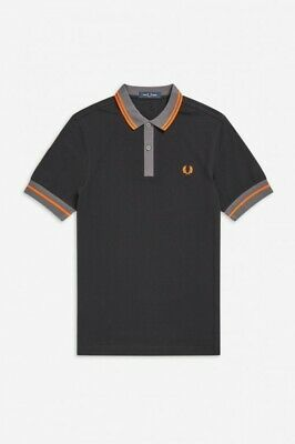Size L black with yellow trim mod//fred perry style polo shirt