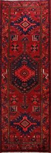 Vintage-RED-Geometric-Tribal-Hamedan-Hand-knotted-Runner-Rug-Wool-Oriental-3x10