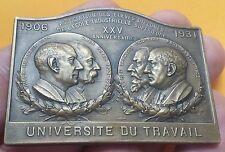 BELGIQUE - Rare plaque belge UNIVERSITÉ DU TRAVAIL 1906-1931 par VAN DER STOCK !
