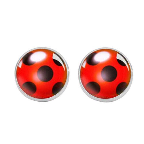 Cute Ladybug Ear Stud Earrings Animal Circle Earrings Women Party Gift JewelryY