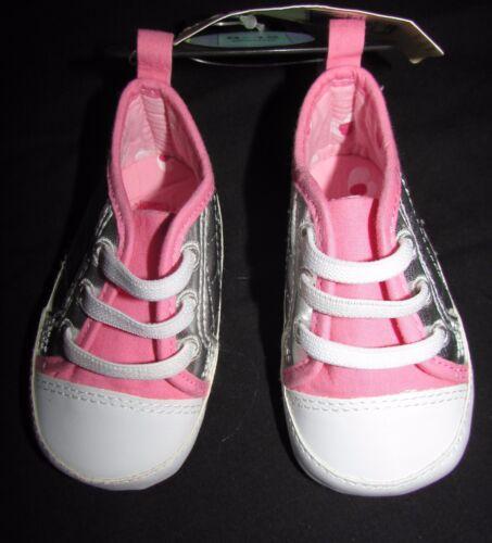 NEW BABY GIRLS SOFT PRAM SHOES SILVER /& PINK MARKS /& SPENCER CUTE SLIP ON