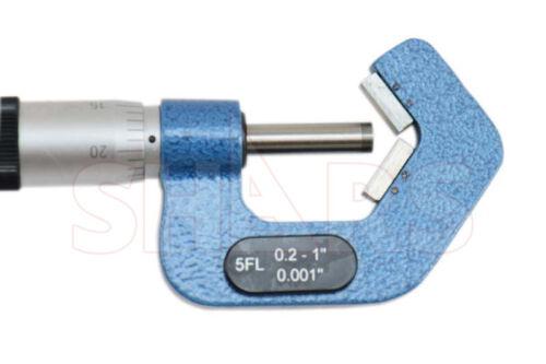 "SHARS 0.2-1/"" 108 Degree 5 Flutes V-Anvil Micrometer Graduation 0.001"" NEW"