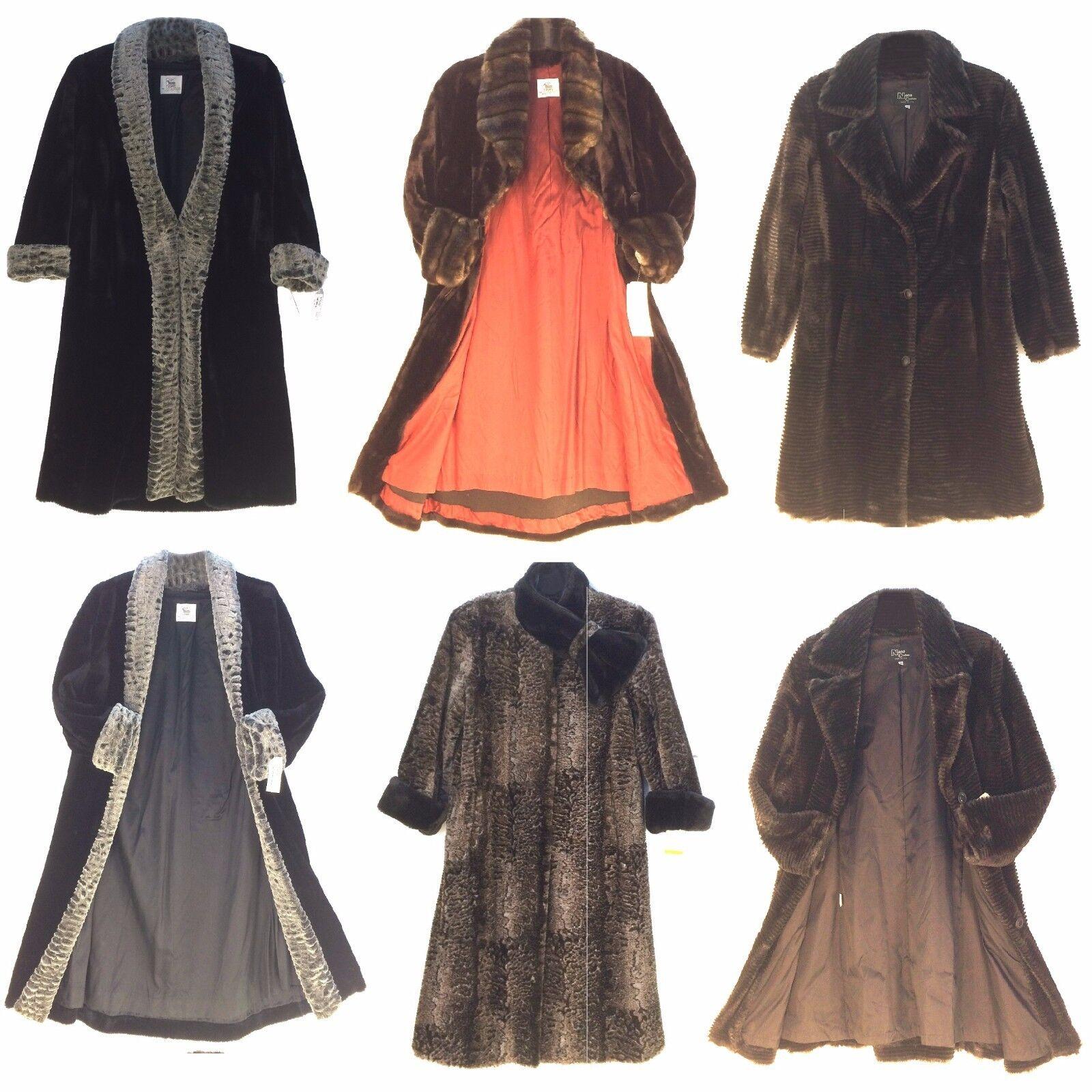 Kvinnor konstificiell Fur Long Coat USA Made, se beskrivning Assorterad