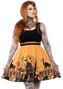 Donna Spdr373 Adulto Punk Nere Sourpuss Vestito Arancio Halloween House Haunted nYOqwwzx8B