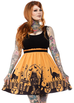 Too Fast Haunted House Horror Halloween Punk Gothic Bats Ghoul Womens Dame Dress