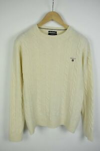 GANT-FINE-LAMBSWOOL-Men-039-S-LARGE-Cable-Knitted-Daisy-Pullover-Sweater-21795-S