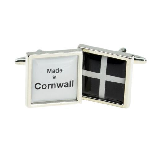 Hecho en Cornwall Gemelos Cornish en una caja de cuero Negro Inteligente X 2 bocsb 016