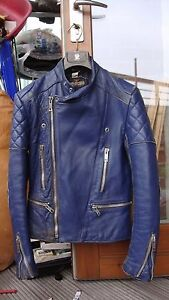 de Veste xs en taille argent Fieldsheer motard cuir bleu zips moto vintage wAHxEAq6