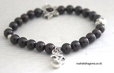 Garnet Power Beads OM LOTUS Charm Healing Love Chakra Bracelet Crystal Gemstone
