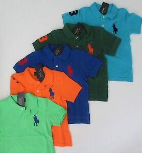 NWT Ralph Lauren Toddler Boys SS Big Pony Solid Mesh Polo Shirt Sz 2//2t 3//3t NEW