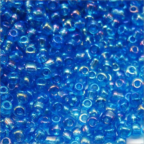 12//0 Perles de Rocailles en verre Transparent 2mm Bleu Ciel AB 20g