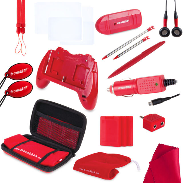 NEW RED 20 in 1 Kit for OLD 3DS Speaker Grip Case Stylus Earbuds Car Charger +