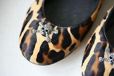 Giuseppe Zanotti Leopard Print haircalf Calavera Ballet Pisos 38 Uk 5