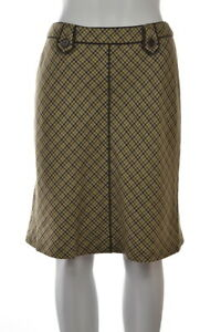 AT-Studio-Womens-Skirt-Size-2-Petite-Beige-Houndstooth-A-Line-Knee-Length-Wool
