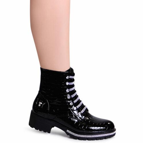 Damen Lack Biker Worker Boots Glitzer Plateau Stiefeletten Snake Optik