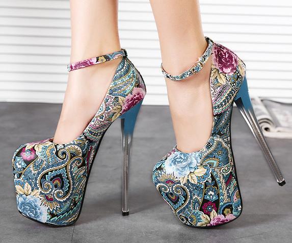 Donna Super High Heel Platform Stilettos Ethnic Style Floral Nightclub Shoes