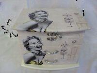 Marilyn Monroe Wooden Jewellery Box With Drawers Bnib