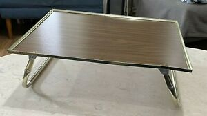 Vintage LAP BED TV TRAY TABLE WOODGRAIN GOLD METAL TRIM FOLDING SERVING SNACK