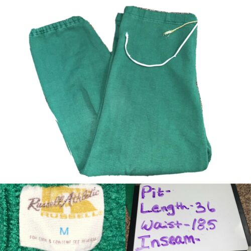 Vtg 70s Men's Russell Athletic Cotton Green Soft S