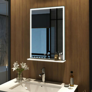 Led Badezimmerspiegel Touch Badspiegel Mit Beleuchtung Glas Ablage