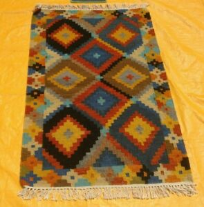 New Afghan Oriental Handwoven Ghazni Wool Kilim Carpet Area Rug 2x4 ft
