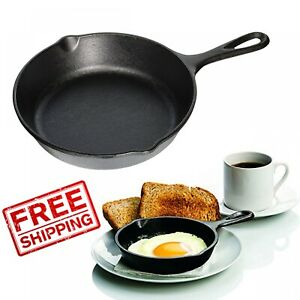 Cast-Iron-Skillet-Seasoned-Fry-Pan-8-inch-NEW-small-Camping-Mini