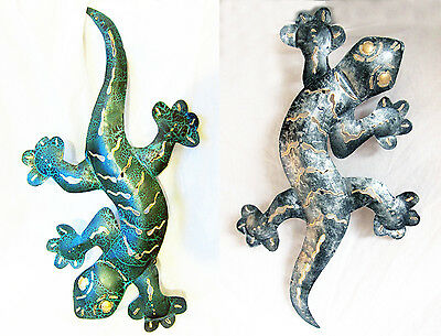 "Mirrored //hand-carved wooden GECKO// LIZARD wall MOSAIC decoration 21/"" x 7/"" Green"