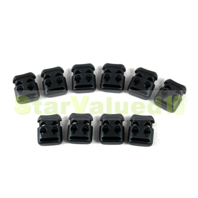 Wholesale LOT 10-100pcs Smile Shoelace Buckle Stopper Rope Clamp Cord Lock Black
