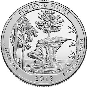 3 Quarters MICHIGAN D 2018 P /& S  Pictured Rocks National Park