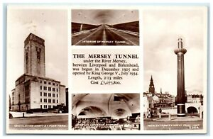 Carte postale la Mersey Tunnel entre Liverpool et Birkenhead Valentine's Real Photo postcard