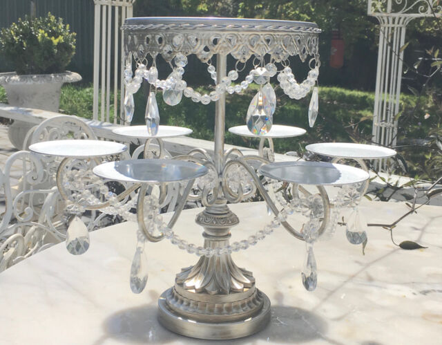 Crystal Prisms Silver Serving Platter Cake Meat Cheese Party Stand Entertaining