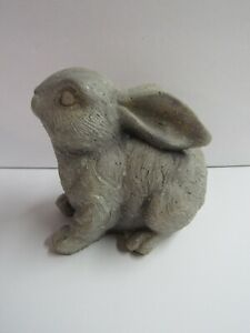 Primitive Bunny Rabbit Sitting Easter Decor Statue Garden Terra Cotta 8/""