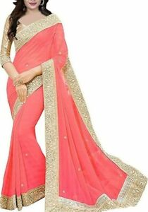 Women-039-s-Georgette-Sarees-With-Golden-Border-and-Blouse-For-Party-Free-Shipping