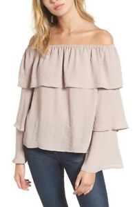 Women-039-s-Love-Fire-Tiered-Ruffle-Long-Sleeve-Blouse-Size-M-Off-Shoulder-Pink-5912