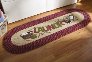 Details About Vintage Look Braided Burgundy Country Laundry Room Runner Area Rug Mat 48 X 20