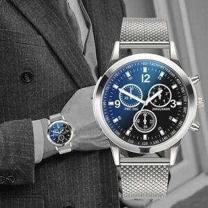 Men's/YOUTH'S: Designer orologio cronografo quadrante blu, effetto Maglia Cinturino Argento