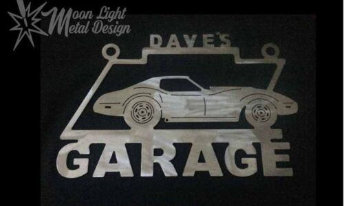 Corvette Garage sign Brushed Steel C3 Personalized Sign