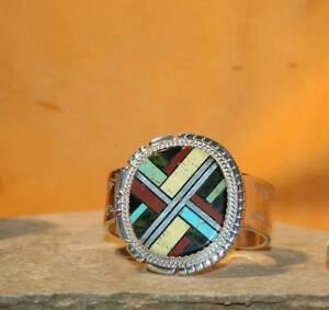 Cuff-Bracelet-Sterling-Silver-Multi-Stone-Santo-Domingo-JIMMY-CALABAZA-Size-6-5