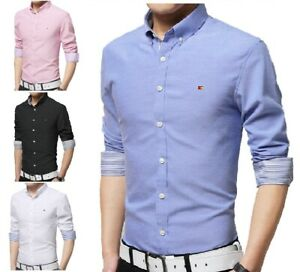 Mens-Oxford-Cotton-Casual-Button-Down-Shirts-Slim-Fit-Shirt-Top-Long-Sleeve-PS13