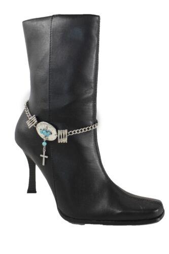 Women Silver Metal Boot Chain Cross Bracelet Bling Western Anklet Turquoise Blue