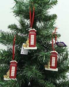 Details About New 3 X Ceramic British Red Phone Box Christmas Tree Decorations Free P P