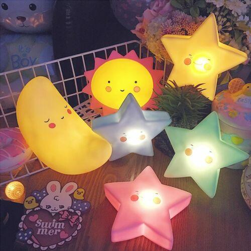 Kids Cute Star Sun Cloud Shape Sleep LED Night Light Table Lamp Bedroom Decor