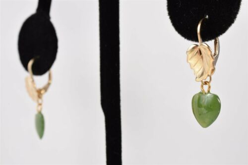 14kt Gold Filled 17mm Leverback EARRINGS Ear Wire 10x8mm Leaf w// Jade Hearts